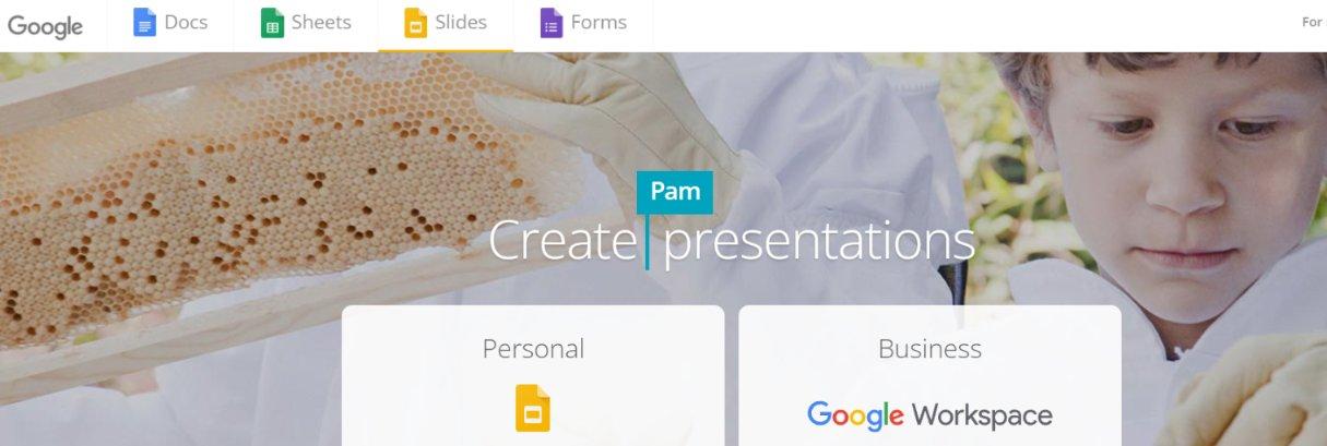 Google slides homepage