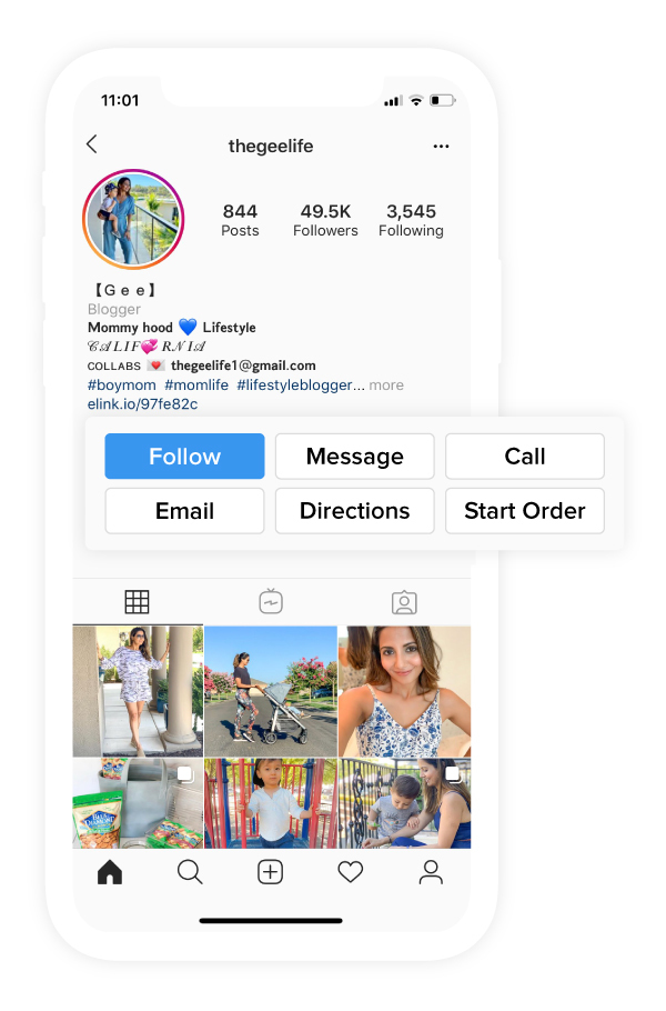 Preview of call, email and directions button on instagram