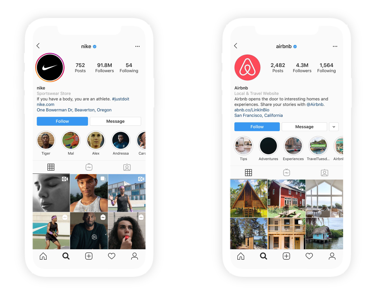 Airbnb and nike's Instagram pages