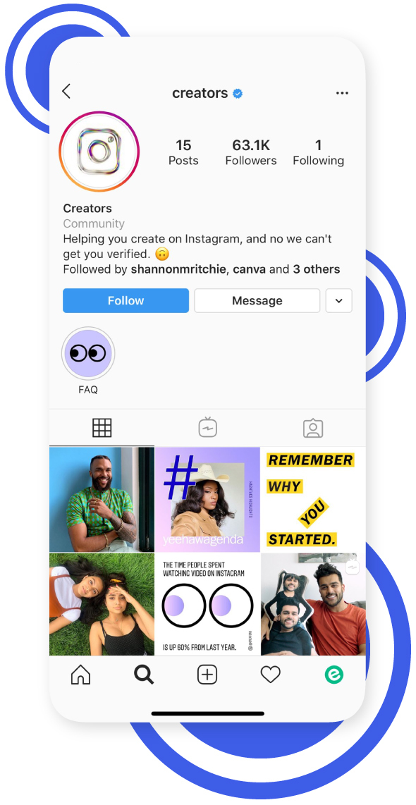 Instagram creator's account's dashboard