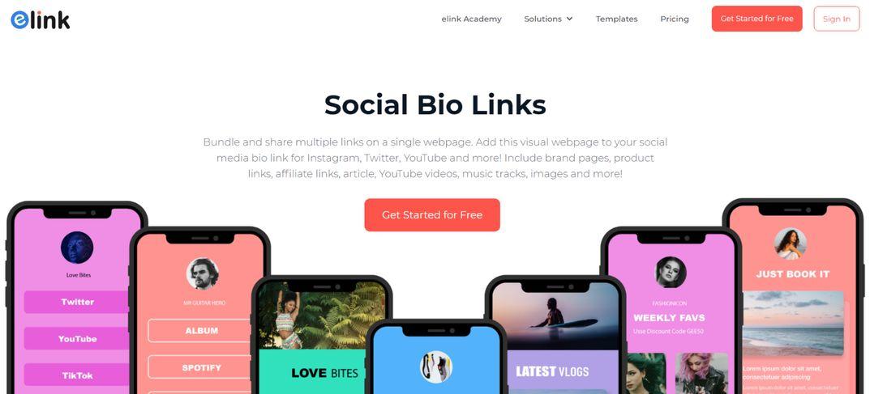 Elink.io: Social bio link tool for instagram