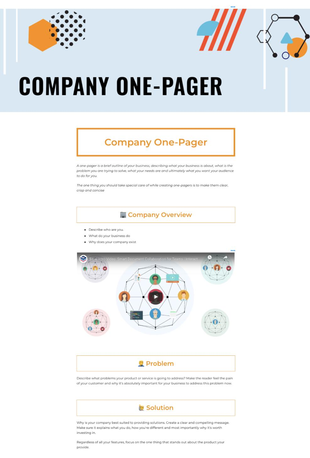 One pager template