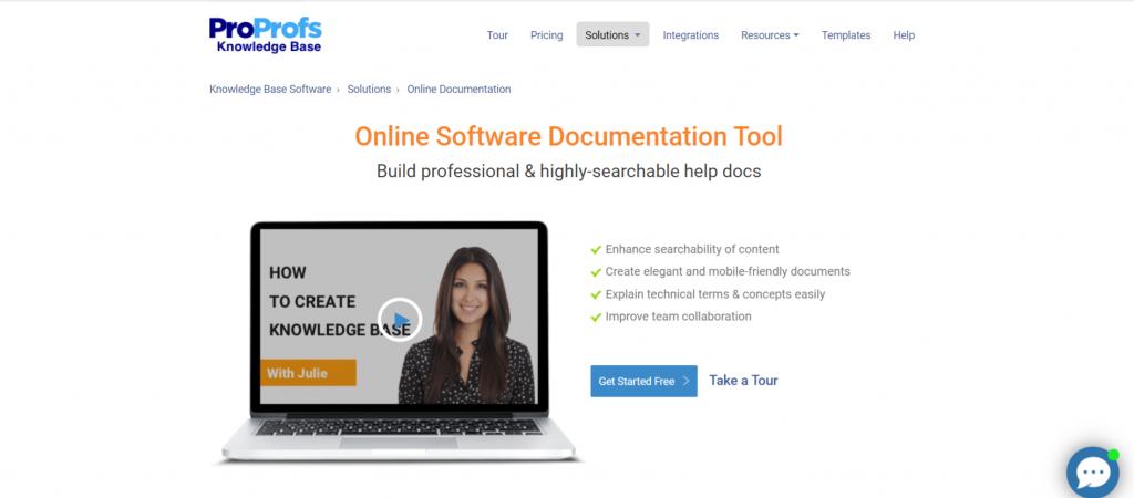 Proprofs: Software documentation tool