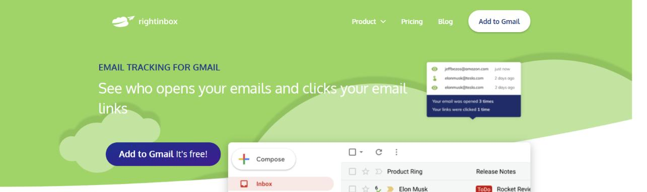 Rightbox: Email tracking software