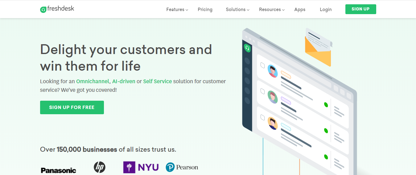 Freshdesk is a customer service software for small businesses