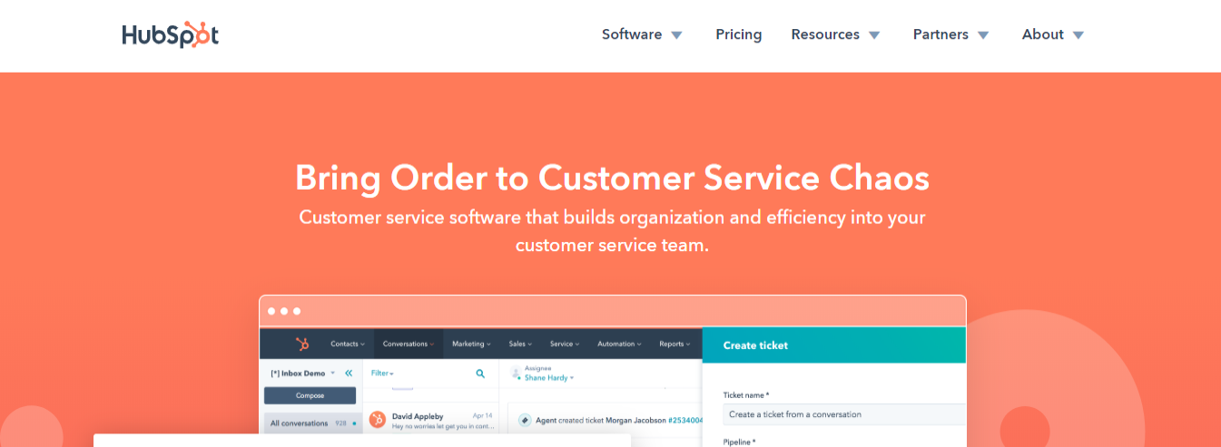 Hubspot's customer service software