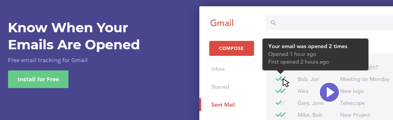 Mailtrack for tracking all your emails