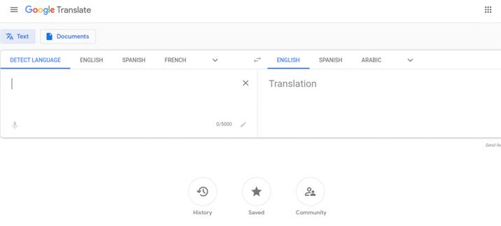 Google translate dashboard for text