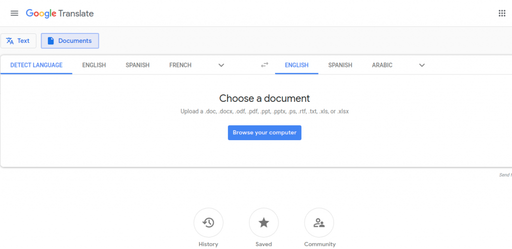 Google translate dashboard for documents