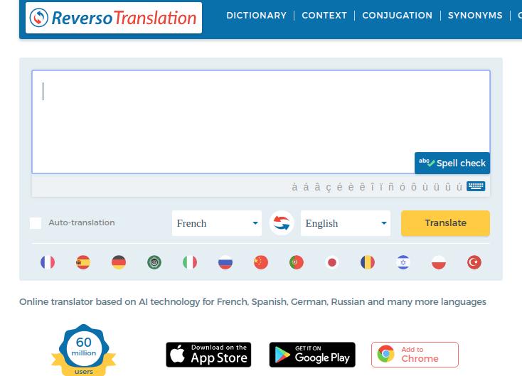 Reverso translator as an alternative to google translator