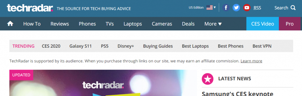 Techradar : A tech website
