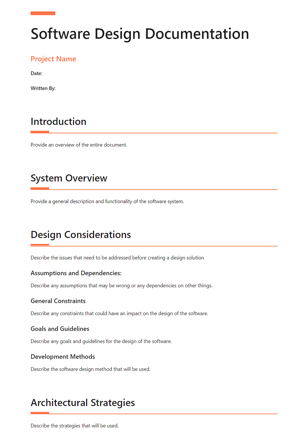 Software Design Document What Why And How Template Included Bit Blog