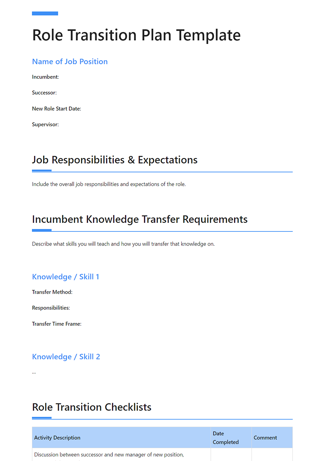 How to Create a Clear Transition Plan Template Included