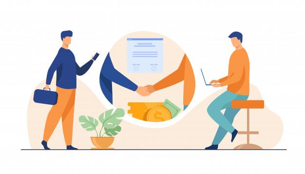 Men shaking hands after an investment deal