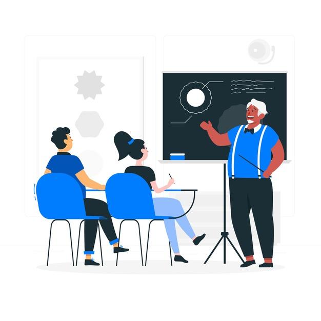 A teacher teaching a class