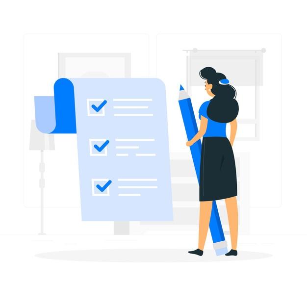 A girl creating a checklist
