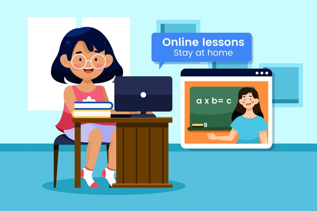 A little girl taking an online lesson