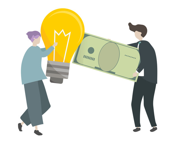 An investor investing money in an idea