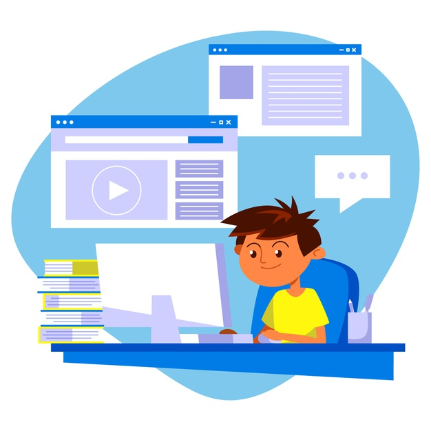A student learning online