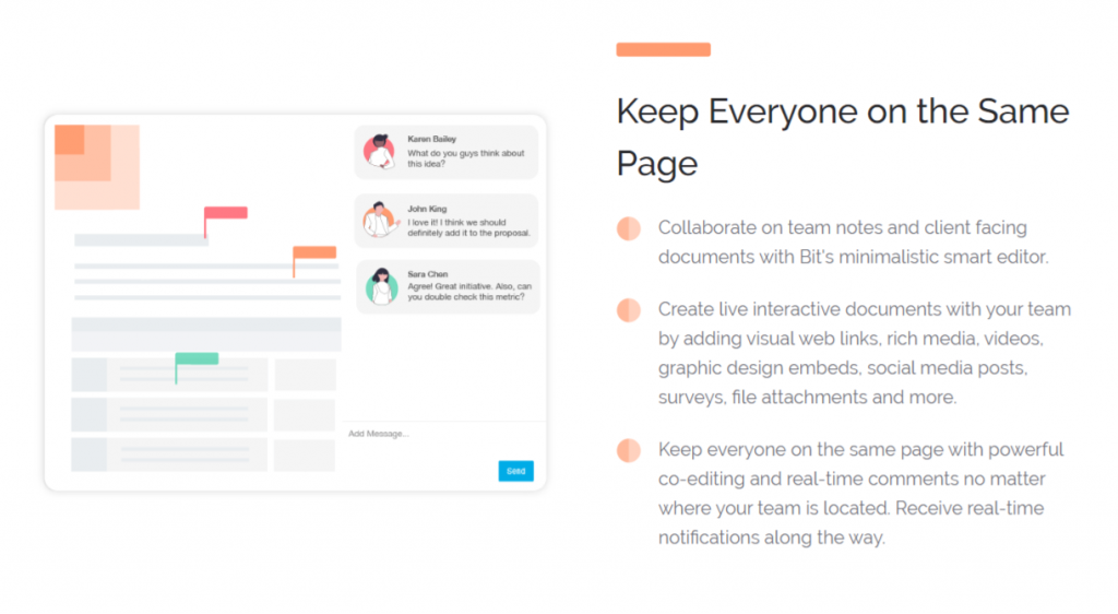 Create and collaborate in documents in real time
