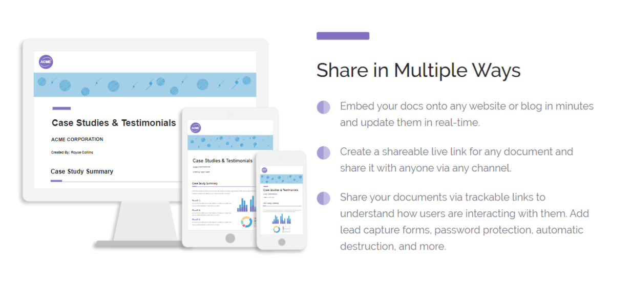 Share your marketing documents in multiple ways