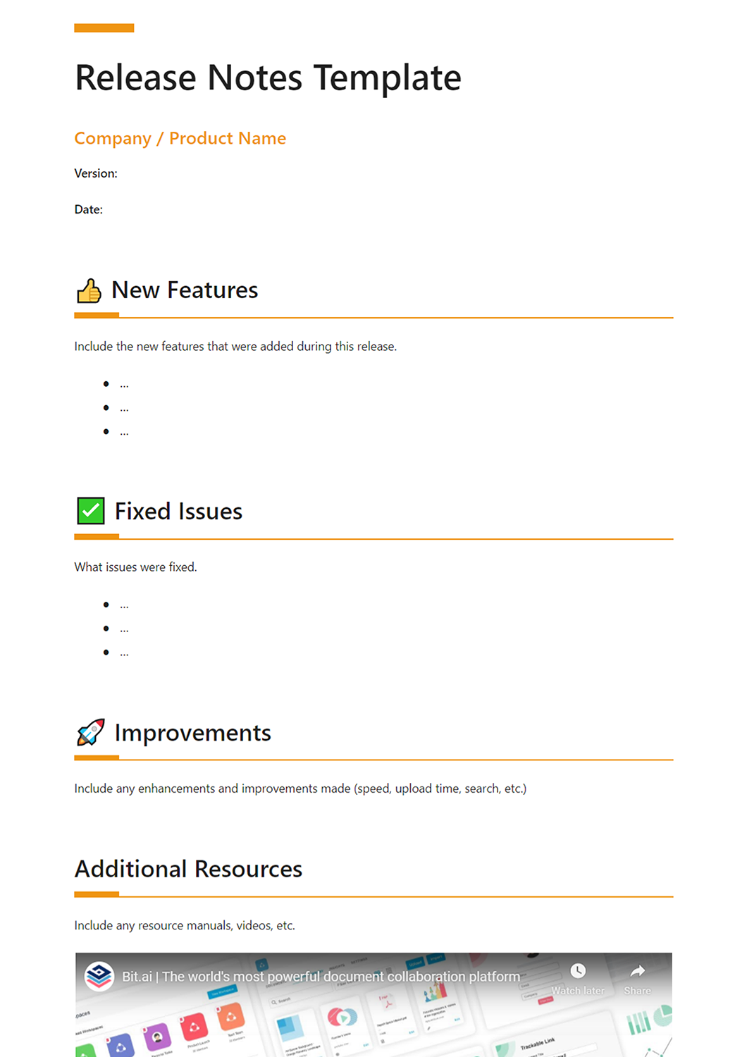 How To Write Awesome Release Notes Template Included Bit Blog