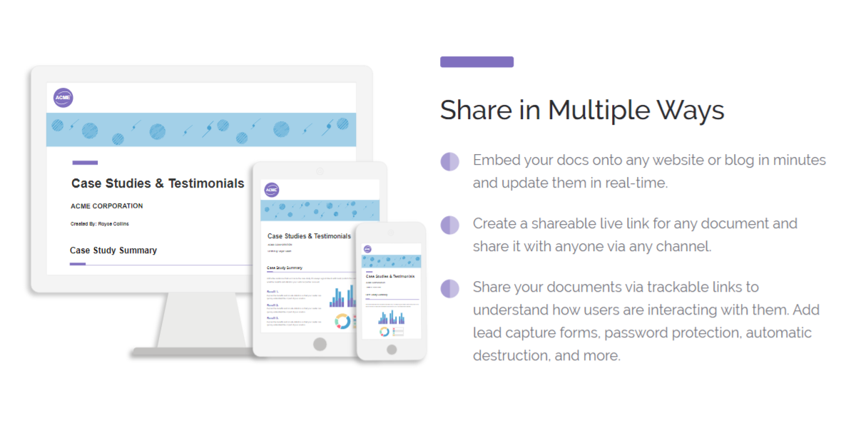 Multiple ways of sharing documents