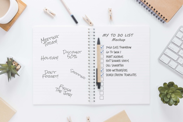 A to do list created in notebook