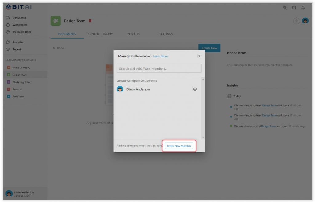 Preview of adding team members in workspace