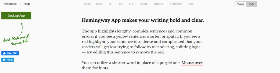 Hemingway: App for writing a book
