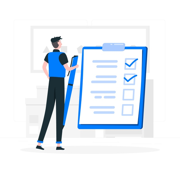 An employee creating a checklist for project plan