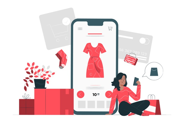 A girl exploring online sales store
