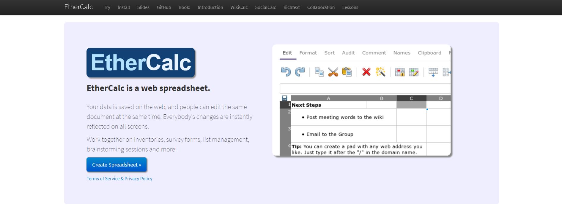 EtherCalc: Microsoft excel alternative