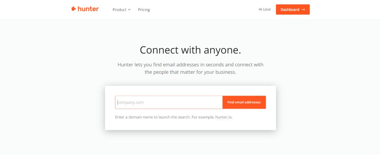 Hunter.io: Sales tool for prospecting