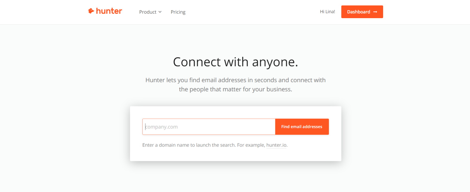 Hunter.io: Sales tool for prospecting