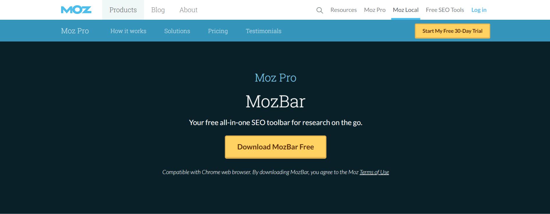 Mozbar: chrome extension