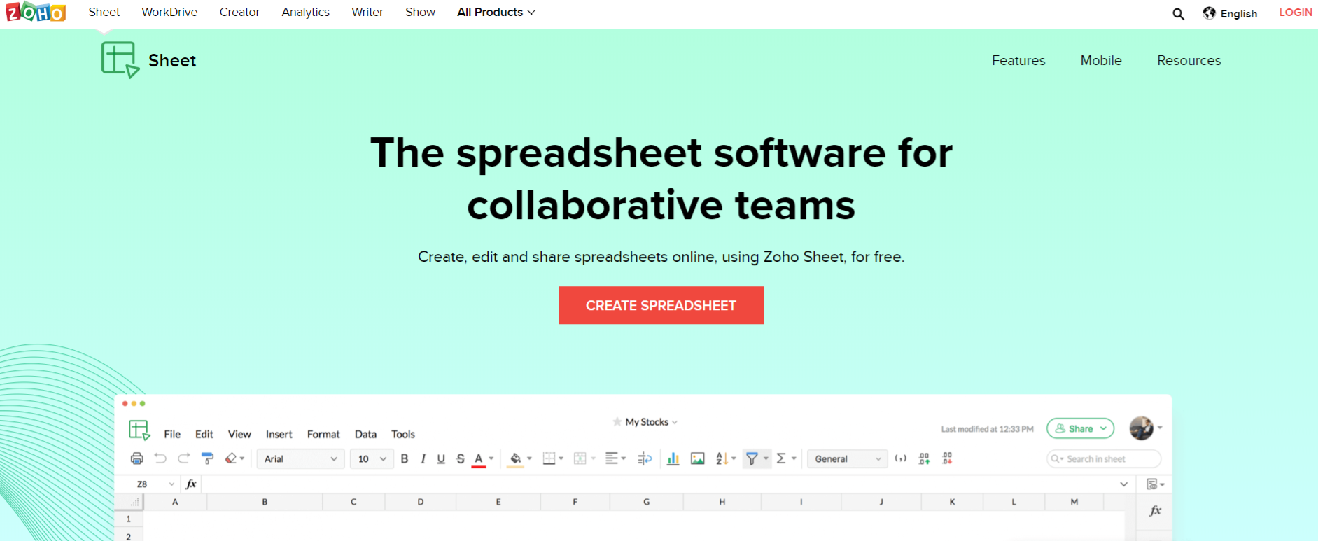 Zoho sheets: Microsoft excel alternative