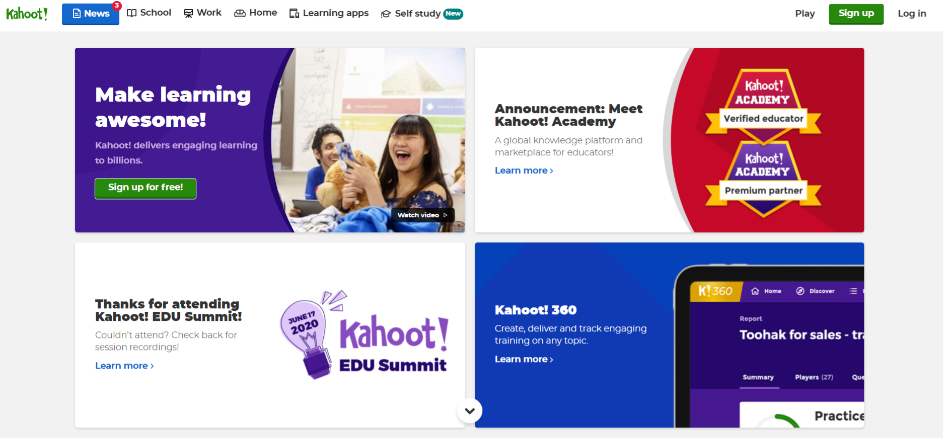 Kahoot: Homeschooling app and tool