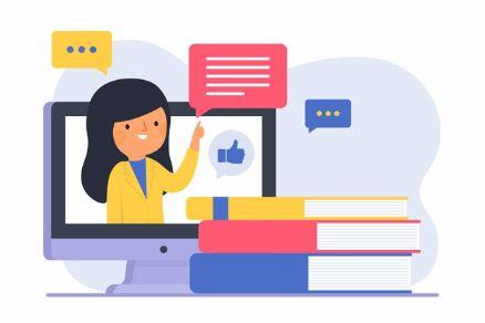 Teacher teaching through online platform