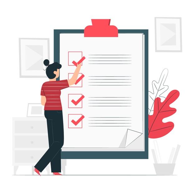 An employee creating a list