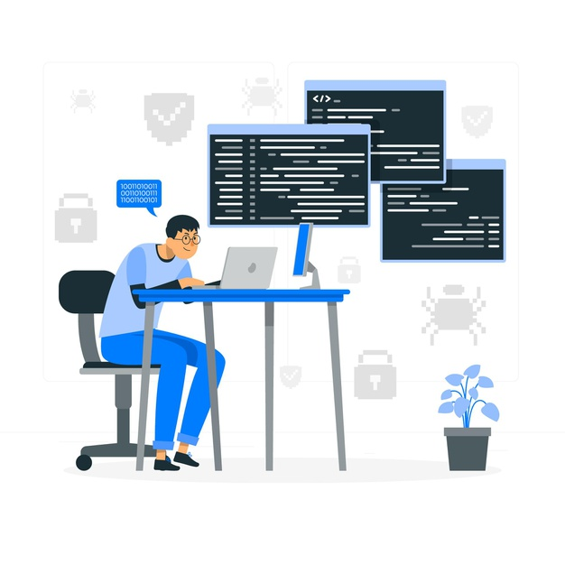 A software engineer writing programming for a software