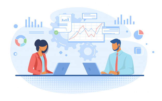 Two employees doing business analysis