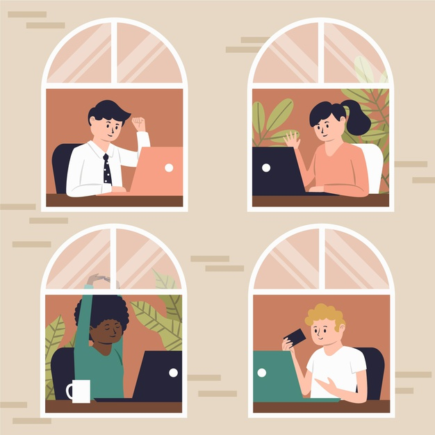 Employee working at home while collaborating online