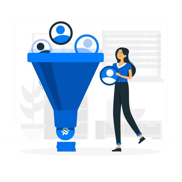 Saas marketing funnel illustration