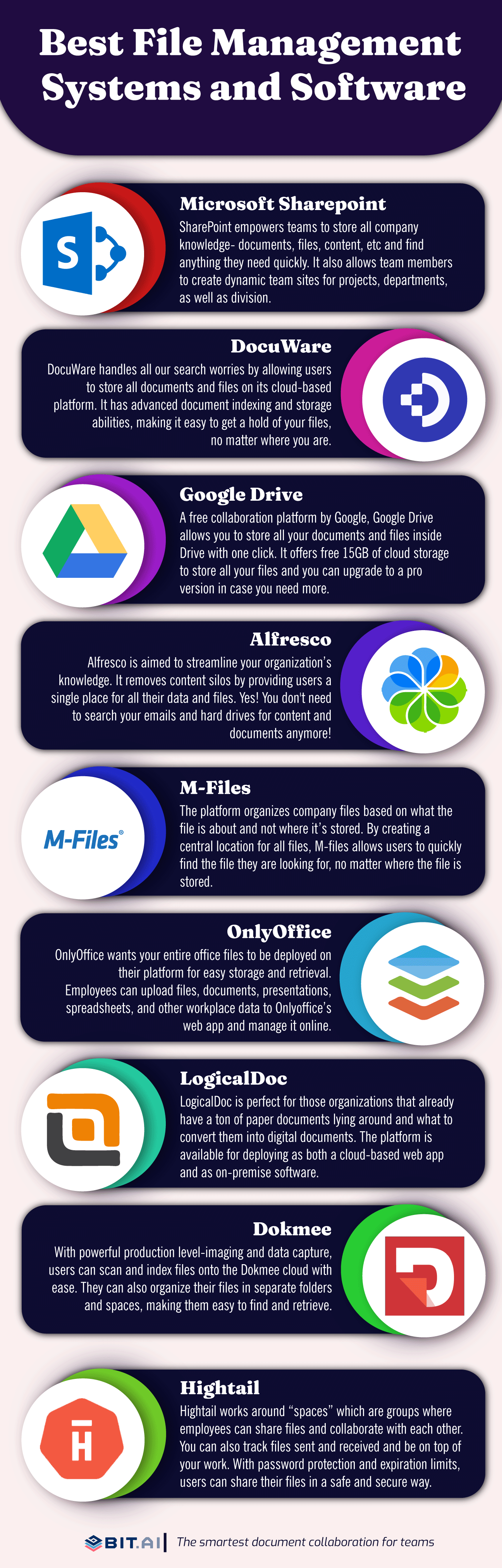 File management systems and software infographic
