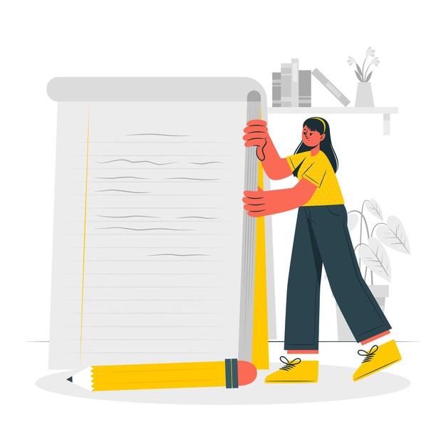 A girl writing standard operating procedure
