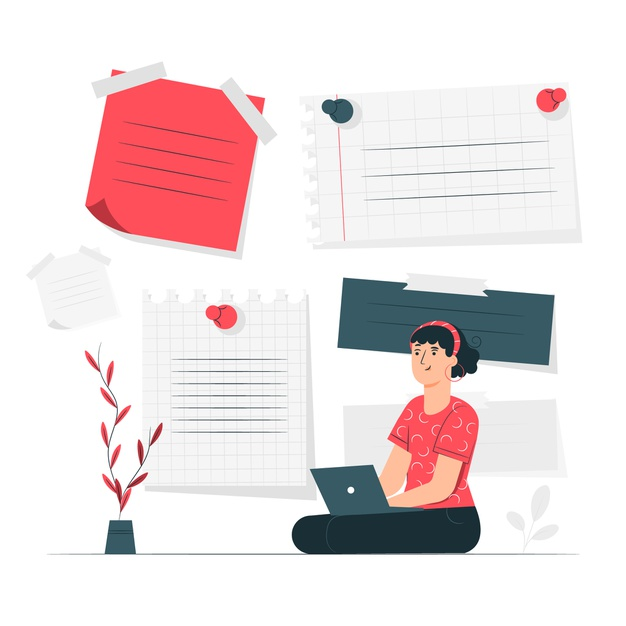 A girl creating employee summary as a part of business requirement document
