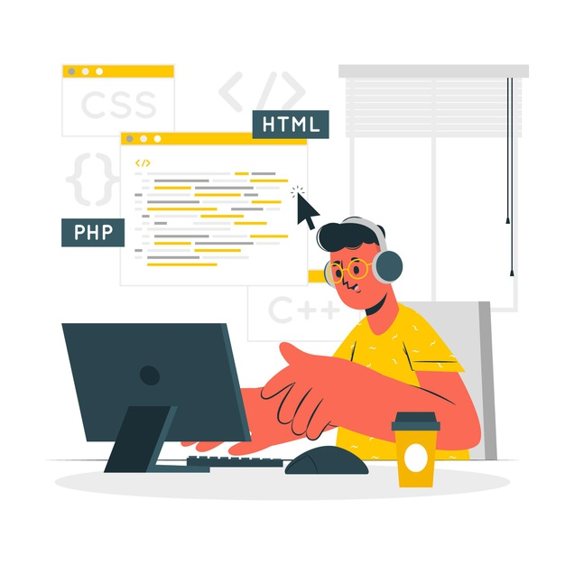A software developer writing code for a website