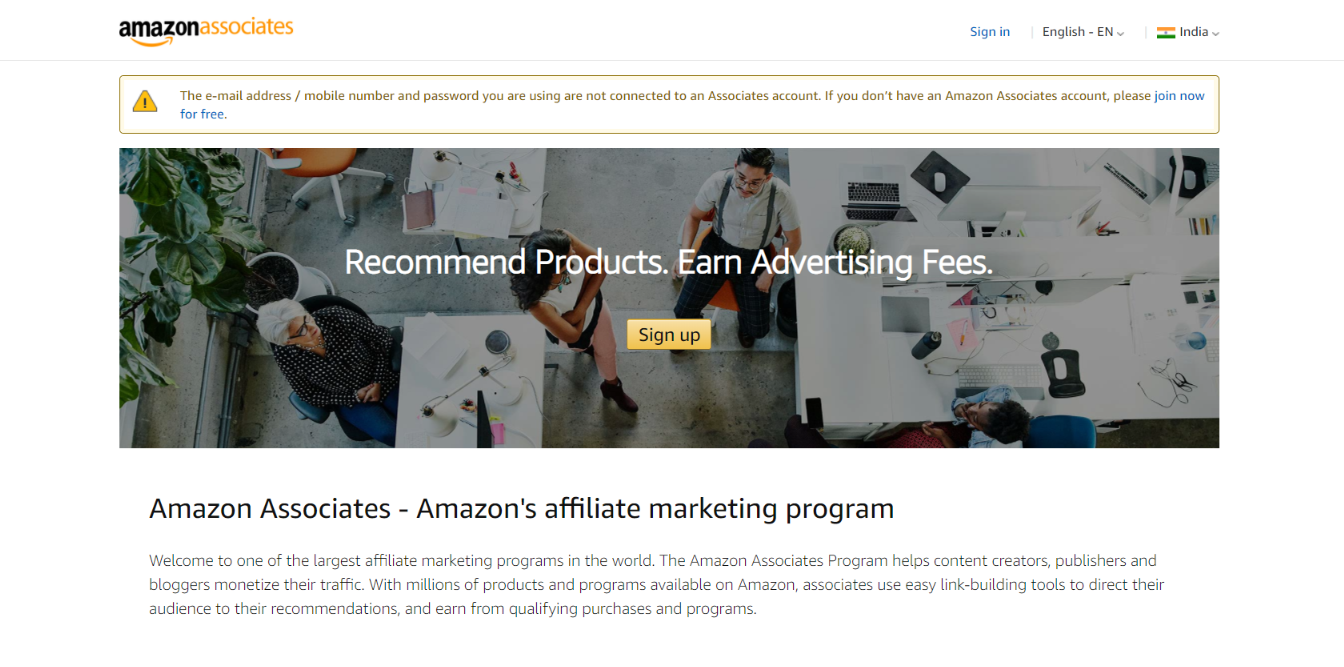 Amazon asssociates affiliate program