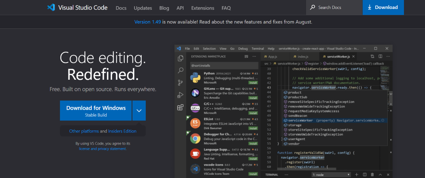 Visual studio code: Code editor for developers